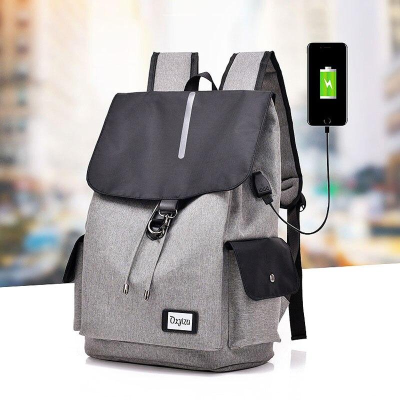 DINGXINYIZU Usb Charging Large Capacity Canvas Waterproof Mens Laptop Backpack School Teenage Travel Casual Portable