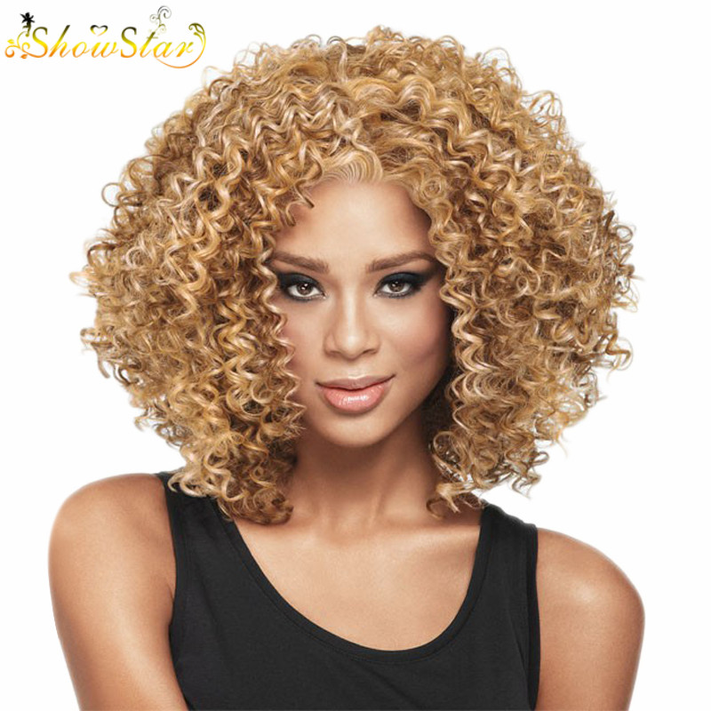 SHOWSTAR Blonde Brown Afro Kinky Curly Wigs Synthetic Hair