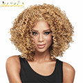 SHOWSTAR Blonde Brown Afro Kinky Curly Wigs Synthetic Hair Wigs for African American Short Cheap Blonde Hair Wigs for Women