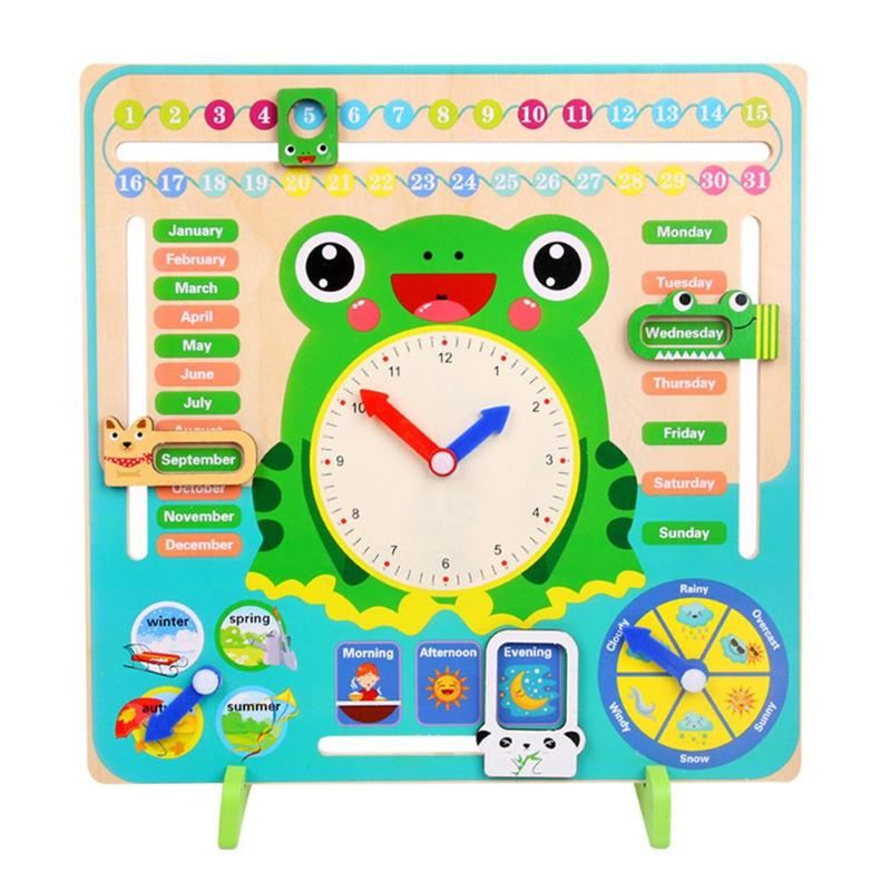 Wooden Cartoon Frog Calendar Clock Set Children Wood Calendar Time Cognitive Matching Toys Kids Early Learning Education Toys