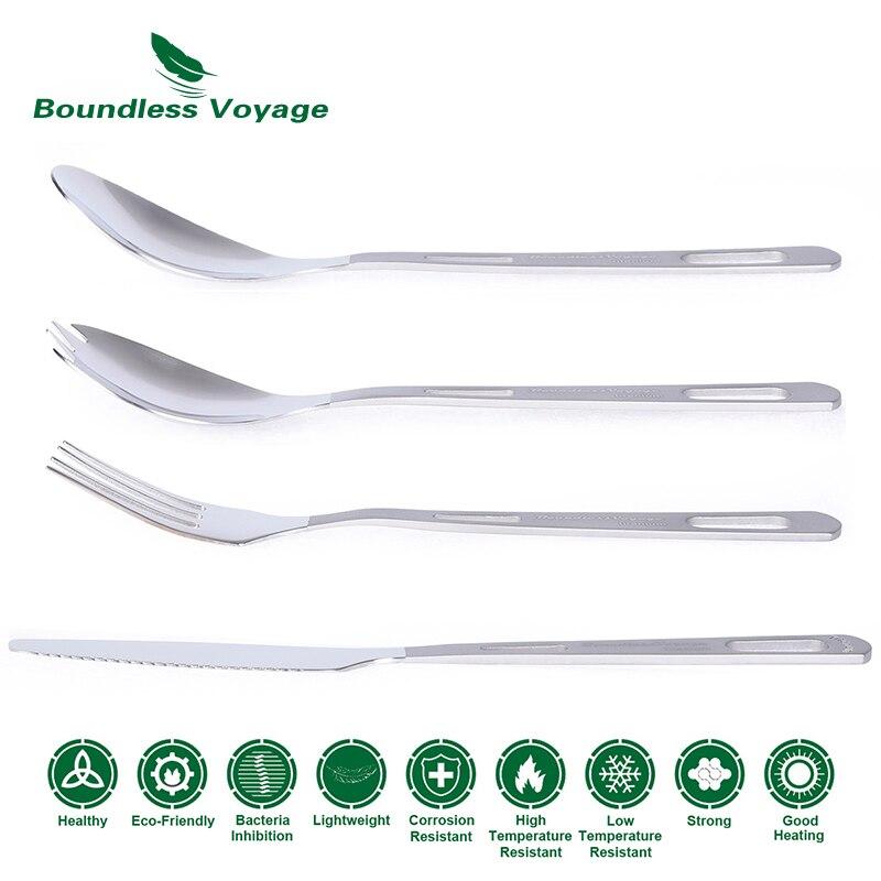 Купить с кэшбэком Boundless Voyage Titanium Camping Cutlery Spoon Fork Spork Knife Chopsticks Portable Tableware Flatware Set Mess Kit
