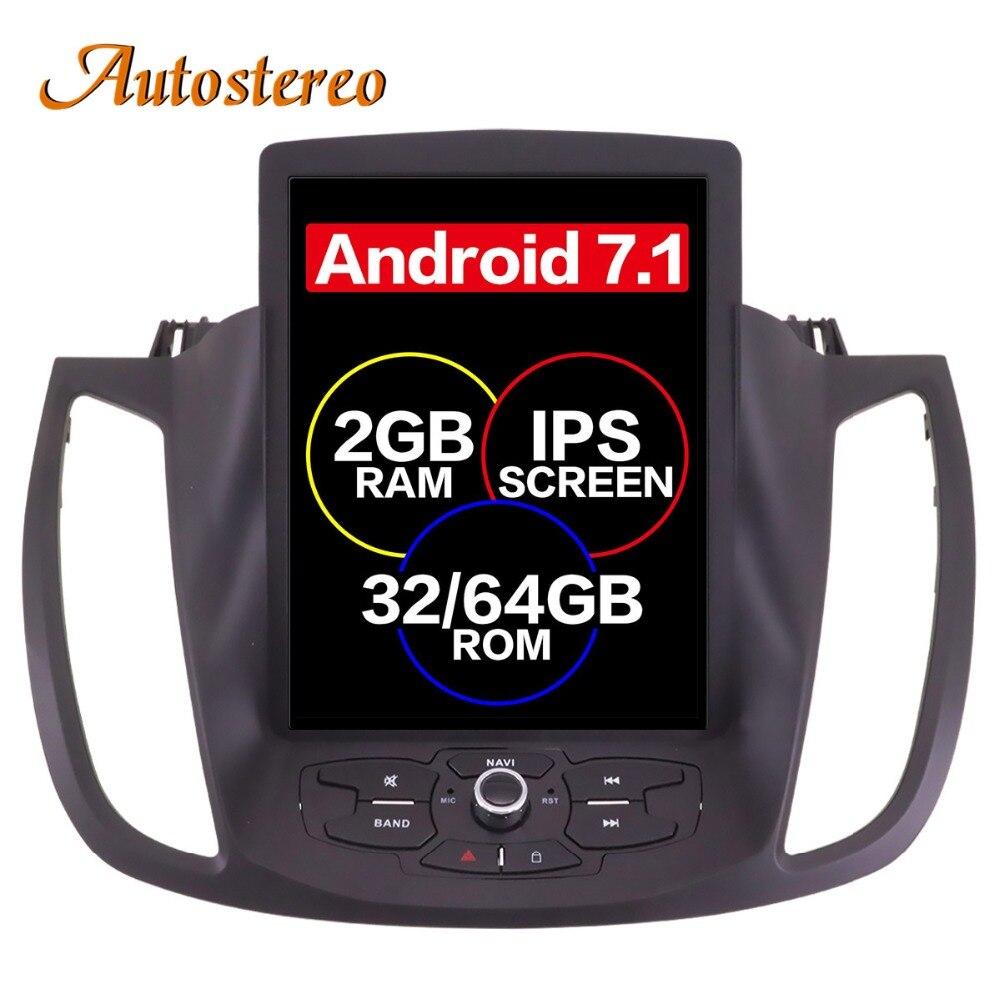 Android 7 Tesla style De Voiture Aucun Lecteur DVD GPS Navigation Pour Ford Kuga 2013 + Auto stéréo headunit multimédia radio magnétophone