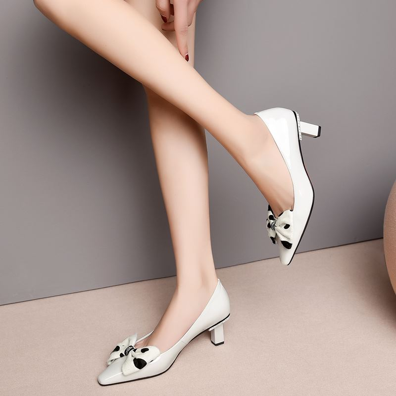 Image 3 - ALLBITEFO sweet bowtie full genuine leather high heels office ladies shoes high quality women high heel shoes women heels-in Women's Pumps from Shoes