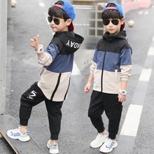 2019 novas crianças meninos conjunto de roupas crianças topos com capuz jaquetas + calças definir 4 6 8 10 12 14 15 anos roupas menino ternos casuais