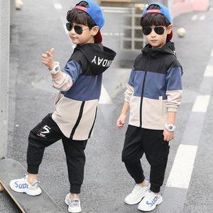 Image 1 - 2019 yeni çocuk Boys giyim seti çocuk Tops Hoodie ceketler + pantolon seti 4 6 8 10 12 14 15 yıl çocuk giyim erkek rahat takım elbise