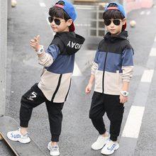 Conjunto de roupas infantis com capuz, jaqueta e calças, conjunto de 4, 6, 8, 10, 12, 14, 15, novo, 2019 anos crianças roupas menino trajes casuais