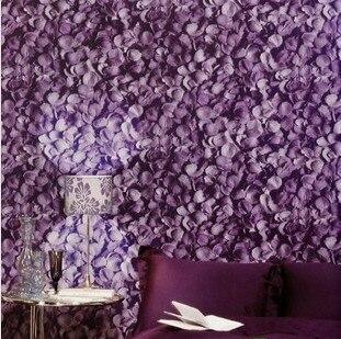 non woven mooi en romantisch rood roze paars rozenblaadjes behang, Deco ideeën