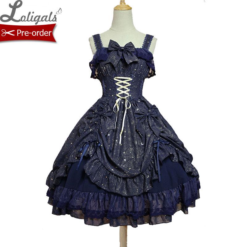 Sweet Twinkling Star Series Lolita JSK Dress by Soufflesong Navy Blue Black White Party Dress Vestidos