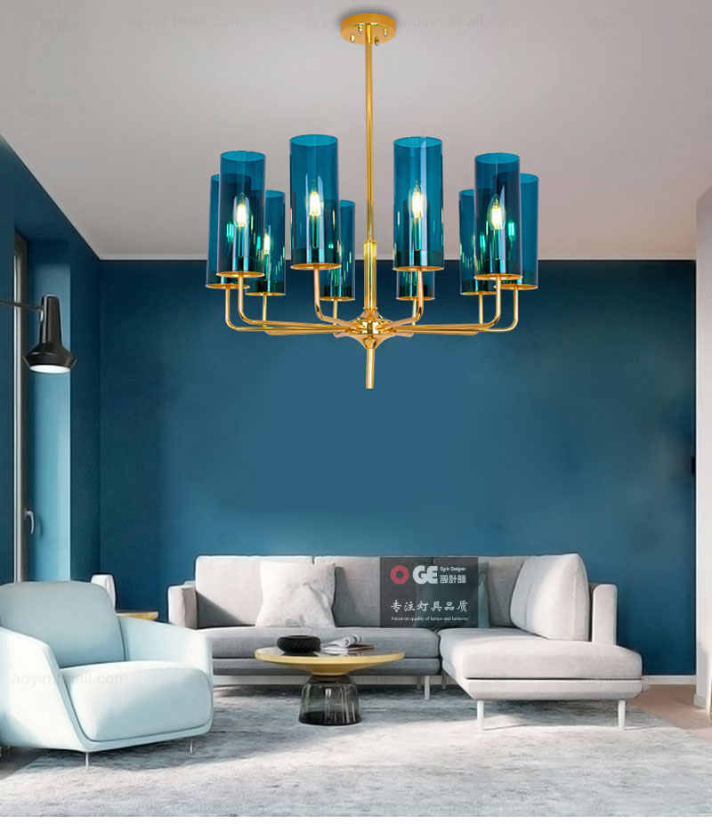 Modern Chandelier Lighting Glass Branching Pendant Chandeliers For Dining Room Living Room Lustre Hotel Led Avize E14 C027