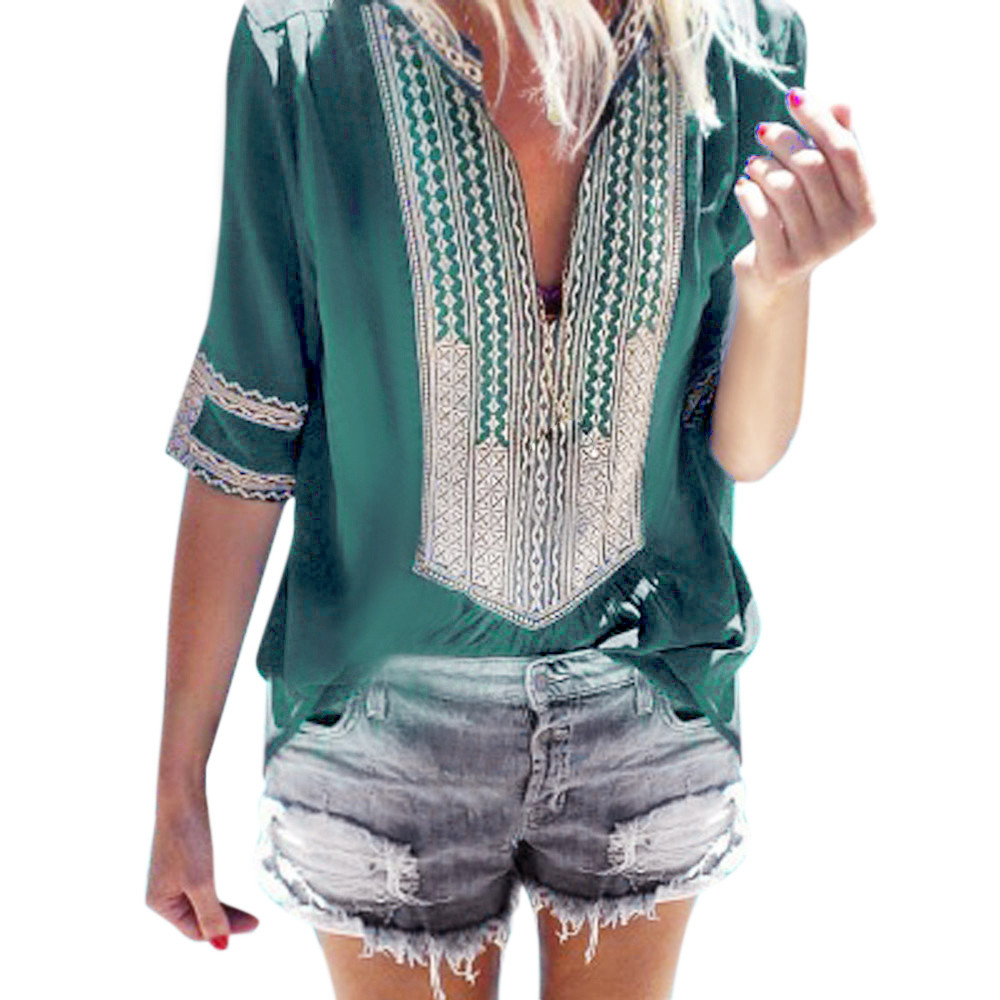 vetement femme 2018 Women Fashion clothing Ladies Deep V-Neck Print Half Sleeve Loose Tops Blouse female Shirt camiseta feminina