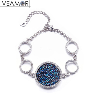 Veamor Pave Crystal Round Charm Bracelets For Women Party Gift White Gold Color Circle Bracelet Jewelry