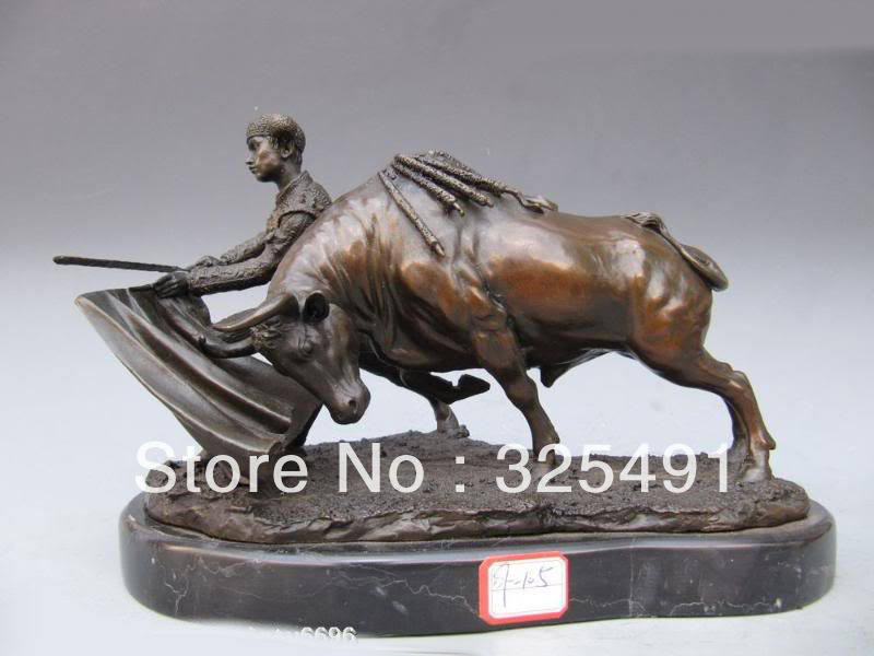 Spain Bronze Marble Statue Matador Bull Spanish Torero Art Statue on Base Marble FREE Shipping