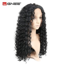 Wignee Lace Front Long Hair Deep Wave Women Wigs Heat Resistant Synthetic Pure Color Cosplay Hair Curly Wig For Black Women
