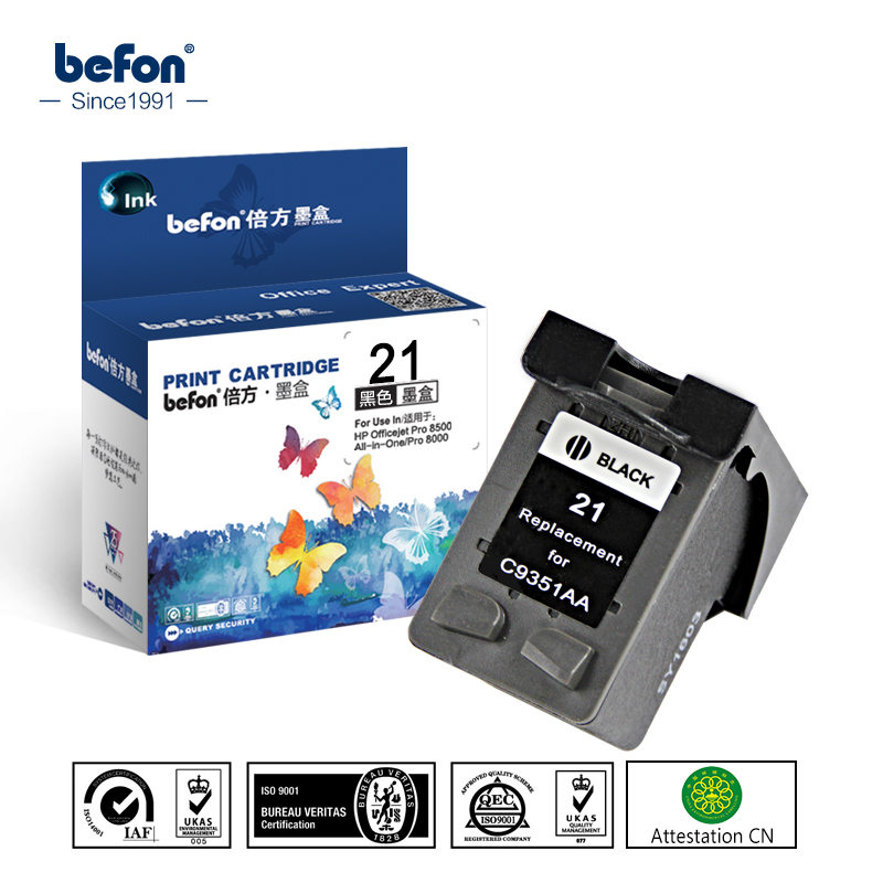 befon Compatible 21 Black Ink Cartridge Replacement for HP 21 22 HP21 for Deskjet F2280 F4180 F4100 F2100 F2200 F300 F380 D2300 for hp 21 22 21xl 22xl ink cartridge for hp21 deskjet f2280 f380 f2100 f2110 f2240 f2180 f2250 f4100 d1360 d2360 printer
