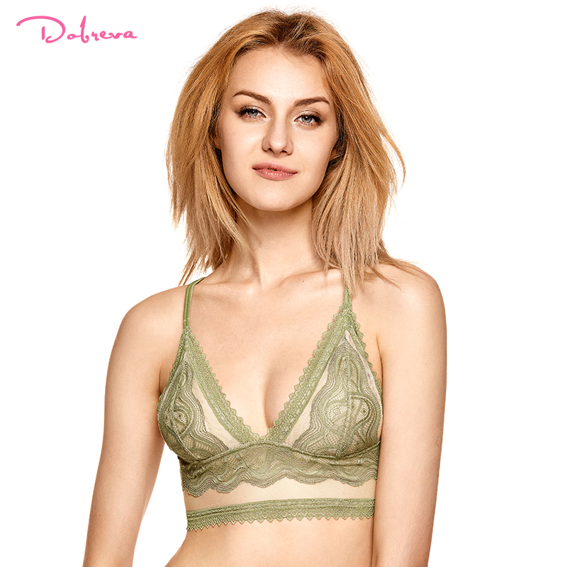0aea09180cd DOBREVA Women s Plunge Lace Brassiere Removable Pads Wirefree Deep V Bra  Triangle Cup Lingerie Underwear