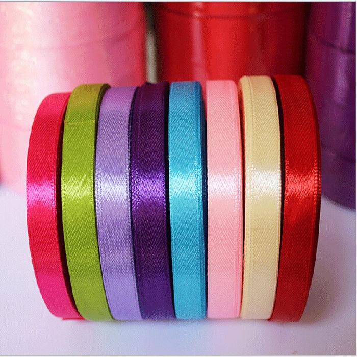25 YardsRoll 6mm Width Colorful Silk Satin Ribbon Wedding