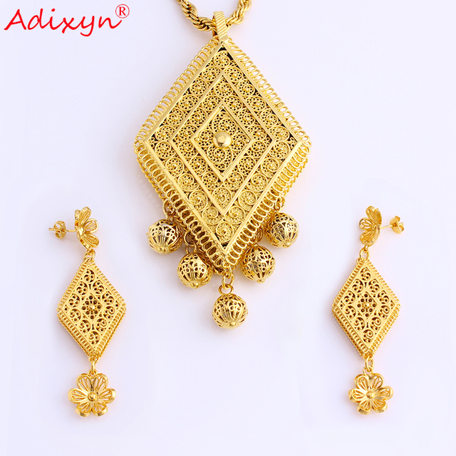 Adixyn Gold Color/Copper African Wedding Gifts Rhombus big Necklace/Earrings/Pendant Jewelry Set For Women N08084