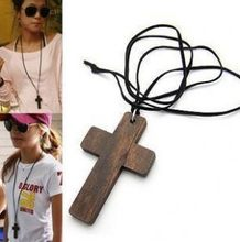 2018 NEW Good Leather Cord Wood Jesus CROSS Wooden Pendant Necklace for Men and Women Lady's Sweater Chain(China)