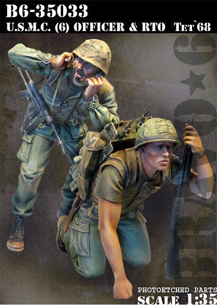 Modelos em escala 1/35 soldado U.S.M.C. oficial & RTO Vietnam soldado figura Histórica DA SEGUNDA GUERRA MUNDIAL Resina Modelo Frete Grátis