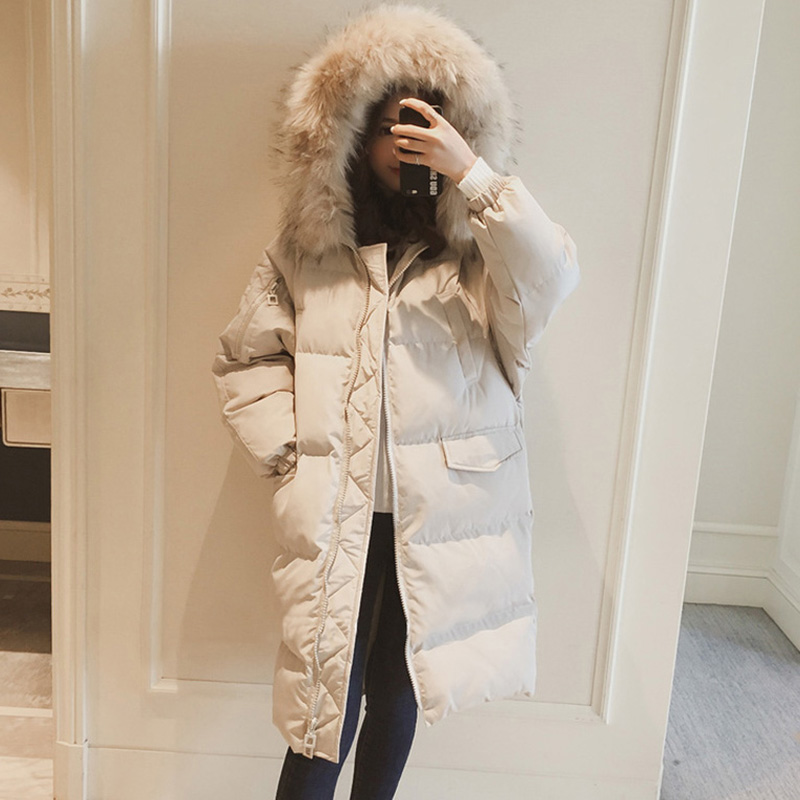 Casual Loose Plus Size Down Cotton Jackets 2018 Winter Hooded Women Padded Cotton Coats   Parkas   Warm Female Long Coats FP1019