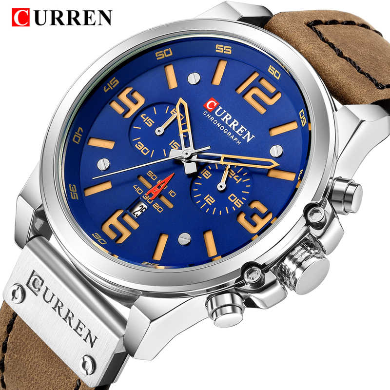 Watch Men Sports Chronograph Quartz Wrist Watches Hot Fashion Brand CURREN Leather Relog Hombre Water Resistant With Calendar