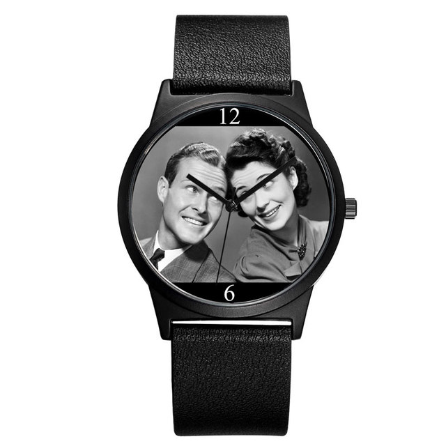 B-9042 BAOSAILI New Design Couple Watch Lovers Photo Face Dial Classic Black Wri