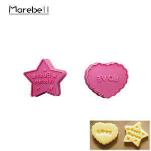 Marebell Cartoon Plastic Cookie Mould 2pcs Love Heart Star Shape Biscuit Mould Cookie Cutter DIY Tools For Baking