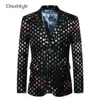 Cloudstyle 2017 New Male Blazer Single Breasted Overcoat Lattice Designed Jacket Men Casual Full Luxury Slim