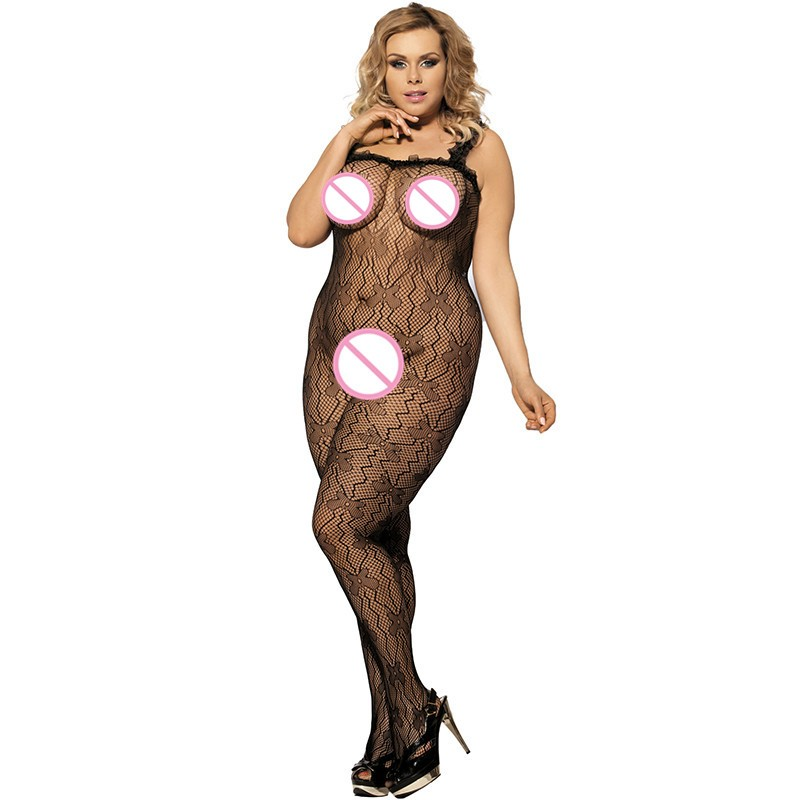 J3139 Black lace trim ropa interior mujer sexy erotica plus size transparent mesh body suit sleeveless open crotch bodysuit 2