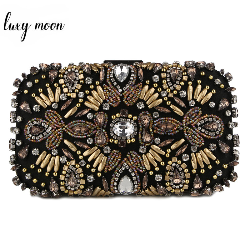 Luxy Moon Evening Bags Diamond Rhinestone Pearls Beaded Day Clutch Women's Purse Handbags Wallets Evening Wedding Bag ZD781