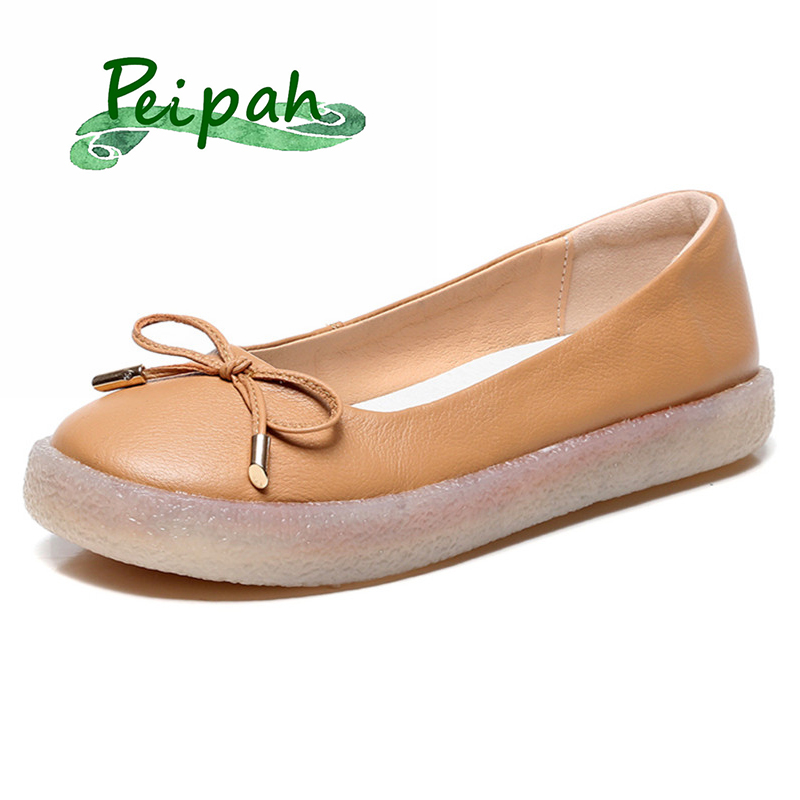 PEIPAH Shallow Handmade Cow Leather Women Loafers Mocassin Femme Casual Solid Ladies Ballet Flats Shoes Single