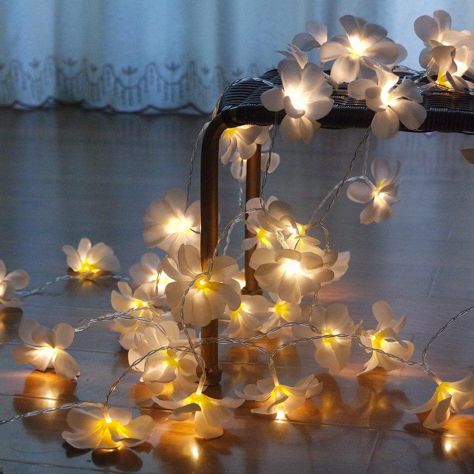 220V 5m 28ledged frangipani LED String Lights Akkumulátor virágos - Üdülési világítás