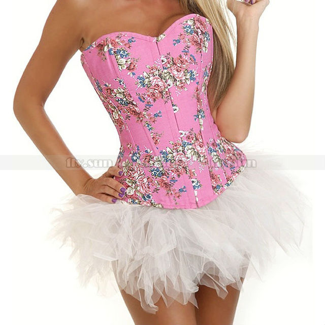 04c988a43d0 Pink Demin Floral Overbust Corset Outerwear Top Lace up Jean Flowers Bustier  + White TuTu Skirt