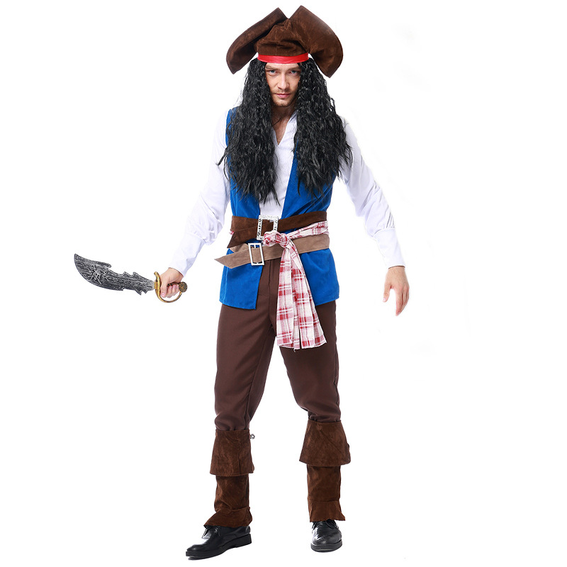 Boys Pirate Costume Child Ahoy Matey Fancy Dress Kids Caribbean Buccaneer Outfit