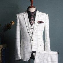 Blanco mens trajes Plaid 3 unidades traje hombres Slim Fit ocio Terno  Masculino Oficina Formal boda trajes para hombres moda smo. 2610466d4d45