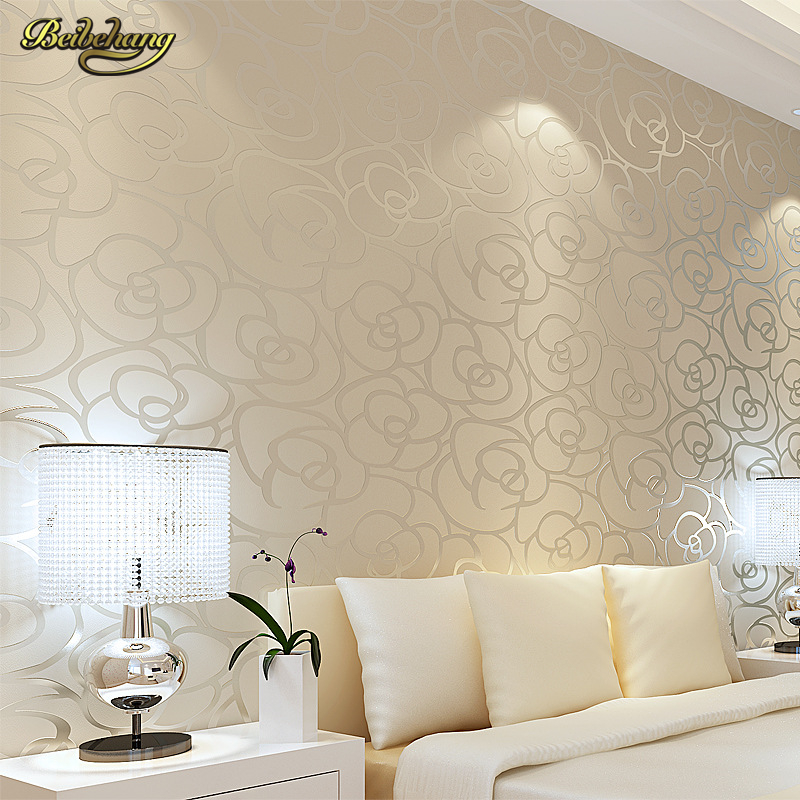 Beibehang 3d wallpaper roll background wall modern velvet for Living room paper