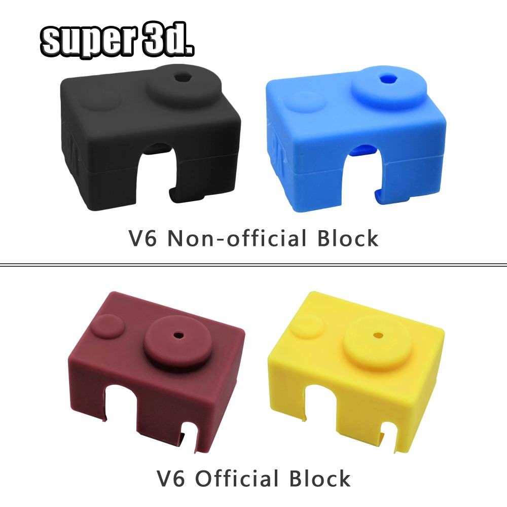 1 PC New V6 Silicone Sock 3D Printer Support PT100 +heating Block Set 1.75&3.0mm Heated Block Bowden Direct Extr For 3D Printer