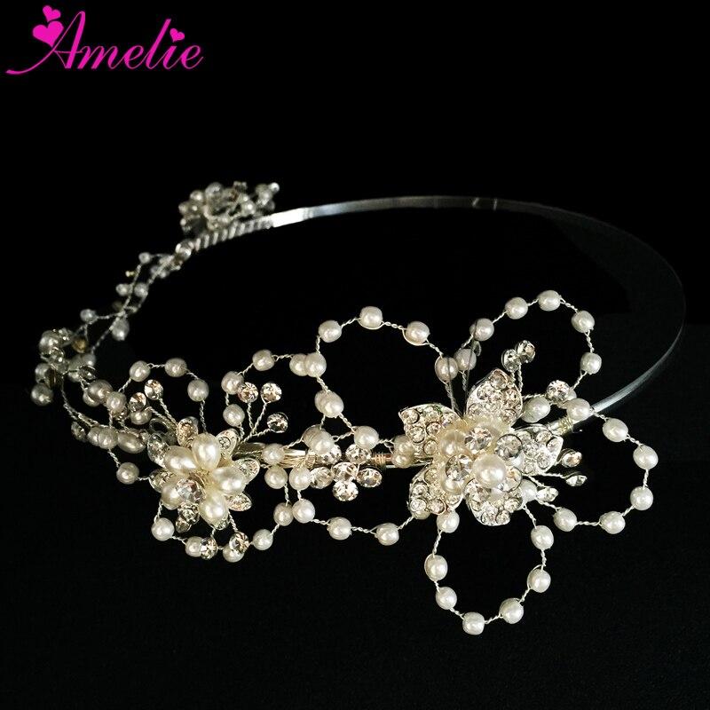 Hand-made Wunderschöne Silber Farbe Perle Reif Tiara Blume Braut Hochzeit Krone