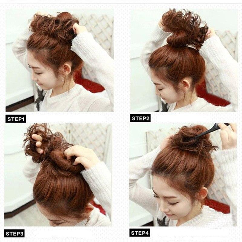 jeedou Curly Chignon Med Gummi Band Värmebeständighet Syntetisk - Syntetiskt hår - Foto 4
