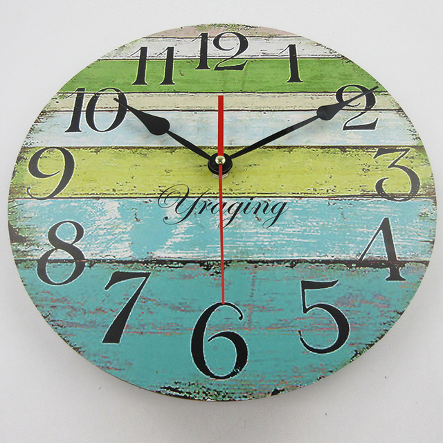 12″ Vintage Wooden Wall Clock MDF Retro Colorful Stripe Design Rustic Country Tuscan Style Wooden Decorative Round Wall Clock