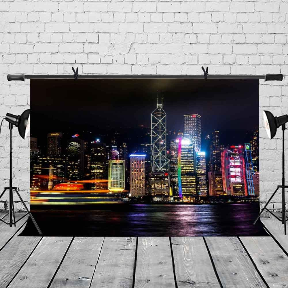 7x5ft City Night Backdrop Hong Kong Victoria Harbor Photography Background and Photography Studio Backdrop Props in Photo Studio Accessories from Consumer Electronics