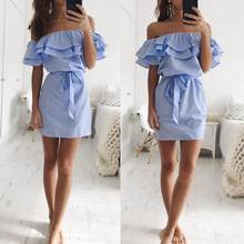 2017 New Fashion Mokingtop off shoulder Summer Dress Women Blue Striped Off The Shoulder Ruffle Dress With Belt Drop shipping(China)