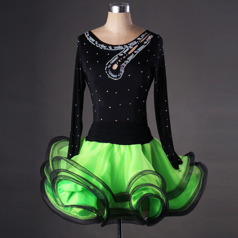 New style Latin dance costume long sleeves spandex latin dance dress for women latin dance competition
