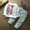Roupa dos miúdos Lazer Natal Criança Meninos Roupas meninos CasuaL Red Tie Cavalheiro Tops + Calças roupas Define Conjuntos de Roupas Crianças