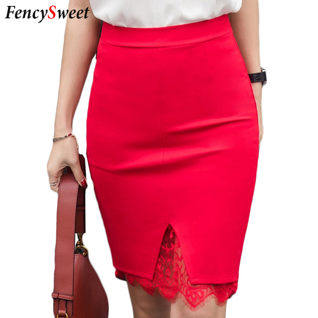 Fencysweet Lace Patchwork Skirt High Waist Bodycon Stretched Pencil Skirts  Front Split Red Black Ladies Faldas Plus Size 4XL 5XL 72805858a447