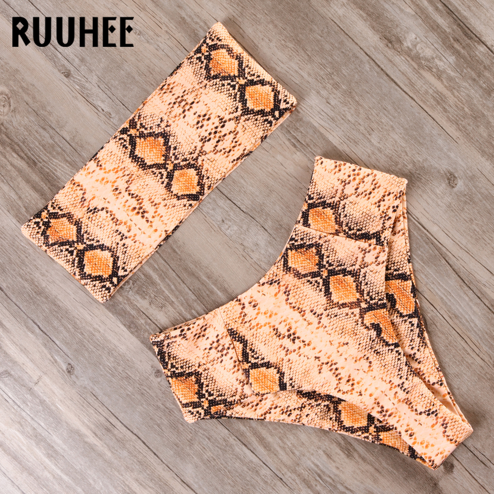 RUUHEE Bandage Bikini Swimwear Women Swimsuit High Waist Bikini Set 2019 Bathing Suit Push Up Maillot De Bain Femme Beachwear