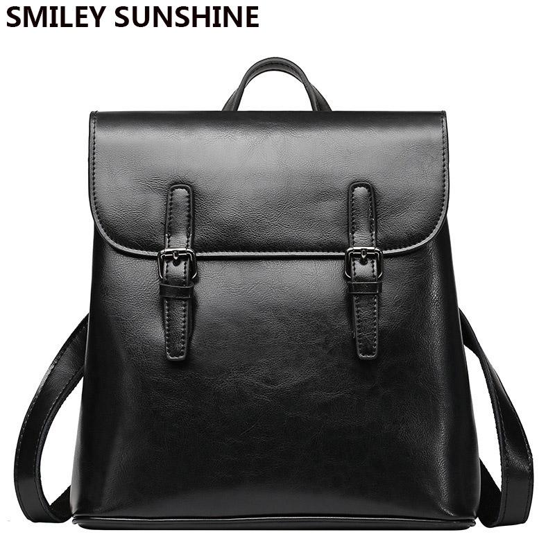 Véritable cuir femmes sacs à dos 2019 mode cuir verni rétro noir femme sac à dos sac Vintage dames cartable sac à dos