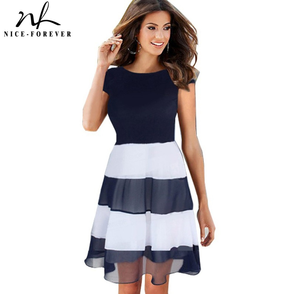 2014 Womens Sleeveless Casual Colorblock Prom Dresses Summer Mesh Chiffon Striped Evening A Line Skater Party