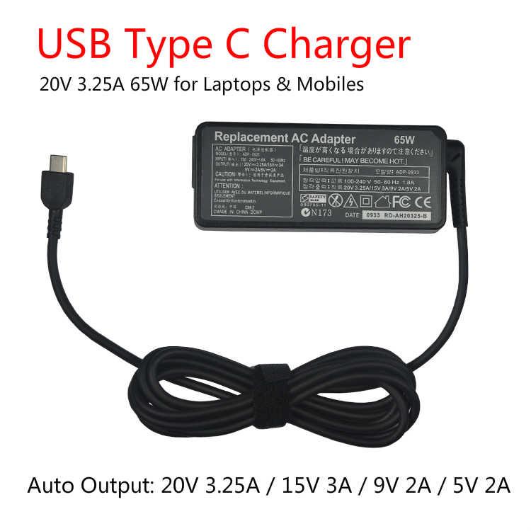 20 فولت 3.25A 65 واط USB C نوع C العالمي محمول محول الطاقة شاحن لينوفو اليوغا 5 برو X1 T470p Asus B9440UA UX390
