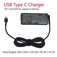 цена на 20V 3.25A 65W USB C Type C Universal Laptop Power Adapter Charger for Lenovo Yoga 5 Pro X1 T470p Asus B9440UA UX390